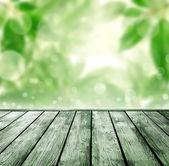 Wood floor with bokeh — Stockfoto