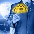 Stock Photo: Secure Online Cloud Computing Concept with business man
