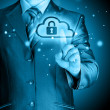 Secure Online Cloud Computing Concept with business man — Stock Photo