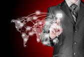 Business man distribute digital mail — Stock Photo