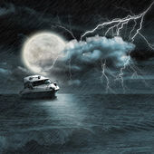 Boat in storm evening — Stock Photo
