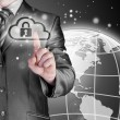 图库照片: Secure Online Cloud Computing Concept with business man