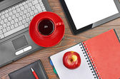 Office supplies and coffee — Stock Photo
