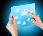 Cloud computing touchscreen interface — Zdjęcie stockowe