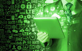 Using green tablet PC — ストック写真