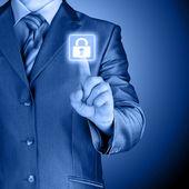 Blue virtual security button — ストック写真