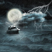 Boat in storm ocean — Stock Photo