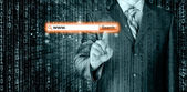 Orange virtual search bar — Stock Photo