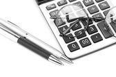 óculos e caneta — Fotografia Stock