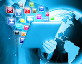 Man use tablet pc — Photo