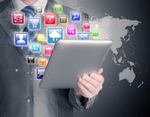 Man use tablet pc — Stock Photo