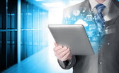 Using tablet PC — Foto de Stock
