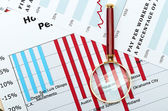 Magnifier on graphs — Stock Photo
