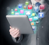 Using tablet pc — Stock Photo