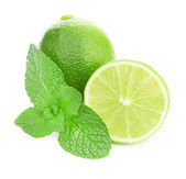 Limes and mint isolated on white background — Stockfoto