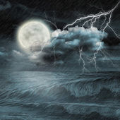 Storm evening on ocean and the moon — 图库照片