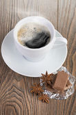 Coffee with chocolate and dry breakfast — Stock Photo