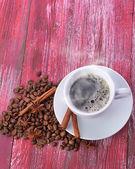 Coffee cup and beans — Zdjęcie stockowe