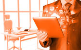 Business man using tablet PC — Photo