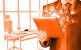 Business man using tablet PC — Foto de Stock