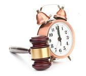 Gavel and clock — Stock Photo