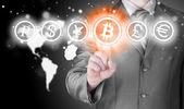 Choosing bitcoins — Stock Photo