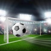 Soccer ball flies into the goal — Stock Photo