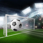 Soccer ball flies into the goal — Stock Photo