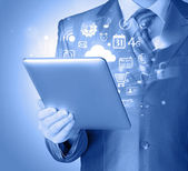 Man using tablet PC — Stock Photo