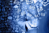 Business man sending emails — Stock Photo