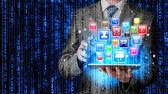 Använda tabletpc — Stockfoto