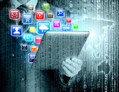 Tablet pc with application icons — Stock Photo