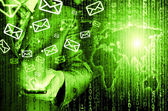 Man sends emails — Stock Photo