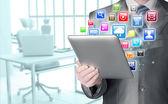 Using tablet PC — Fotografia Stock