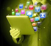 Tablet pc with icons — Stock Photo