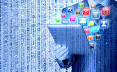 Tablet pc with colorful icons — Stock Photo