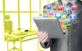 Business man using tablet PC — Stock Photo