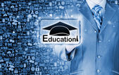 Businessman pointing 'education' concept — Stock Photo
