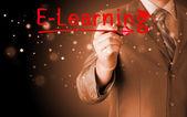 Zakenman schrijven van e-learning — Stockfoto