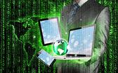 Tecnologia nas mãos do empresário — Fotografia Stock