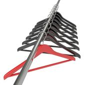 Black and red clothes hangers isolated on white — Стоковое фото