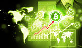 Wählen bitcoins, kaufmann pressen touchscreen schaltfläche. — Stockfoto
