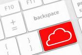 Concepto de Cloud computing en teclado con teclas blancas. — Foto de Stock