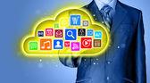 Cloud computing touchscreen interface — Stock Photo