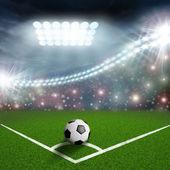 Fotboll i grönt fält hörnet — Stockfoto