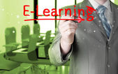 Business man writing e-learning concept — Stock fotografie