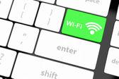 Koncepcje wifi, z wiadomości na klawisz enter — Zdjęcie stockowe