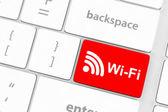 Wifi concepts, message on enter key — Zdjęcie stockowe