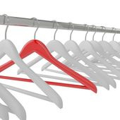 White and red clothes hangers isolated — Stock Photo