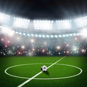 Soccer field center and ball — Stock Photo
